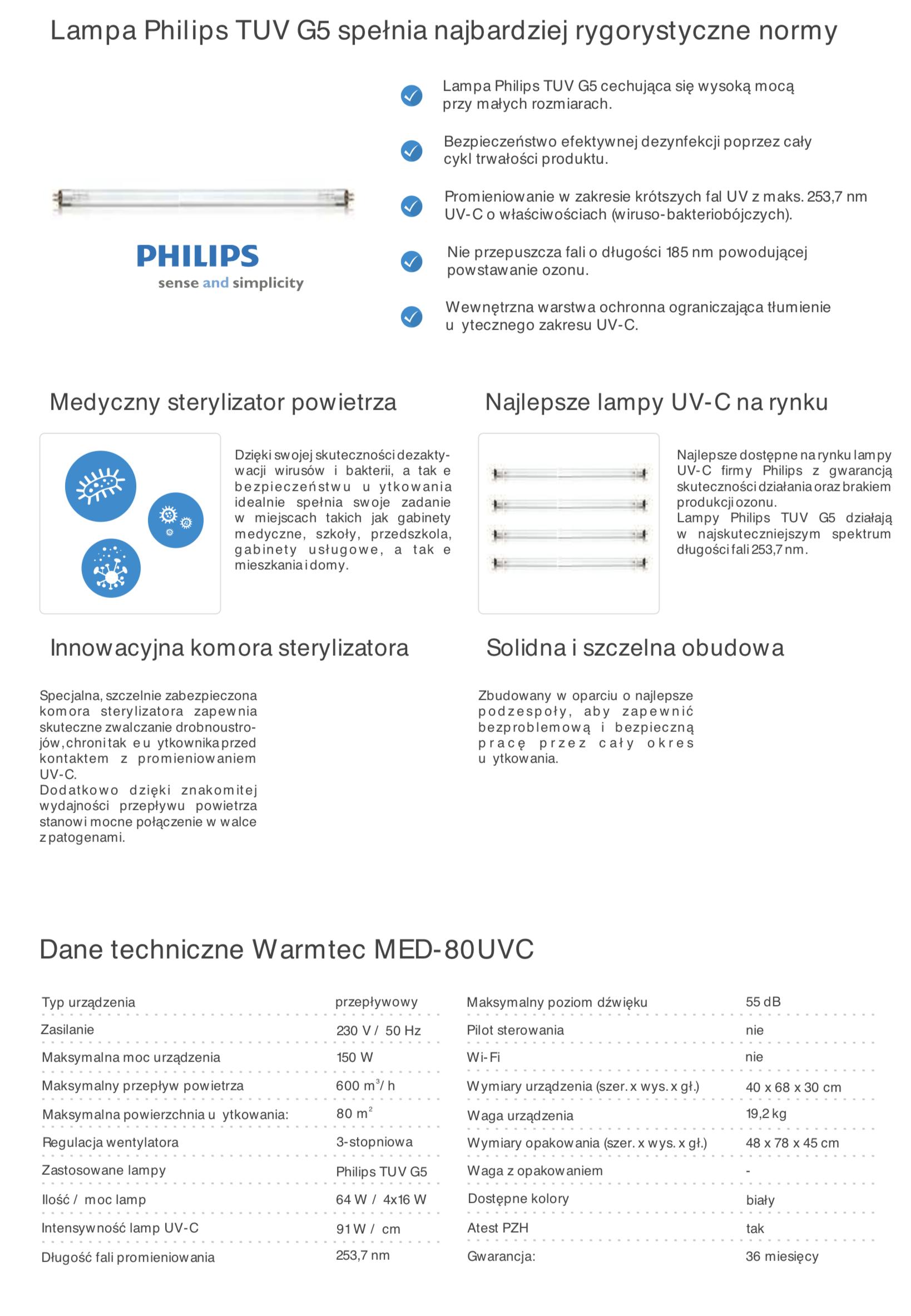 MED-80UVC specyfikacja