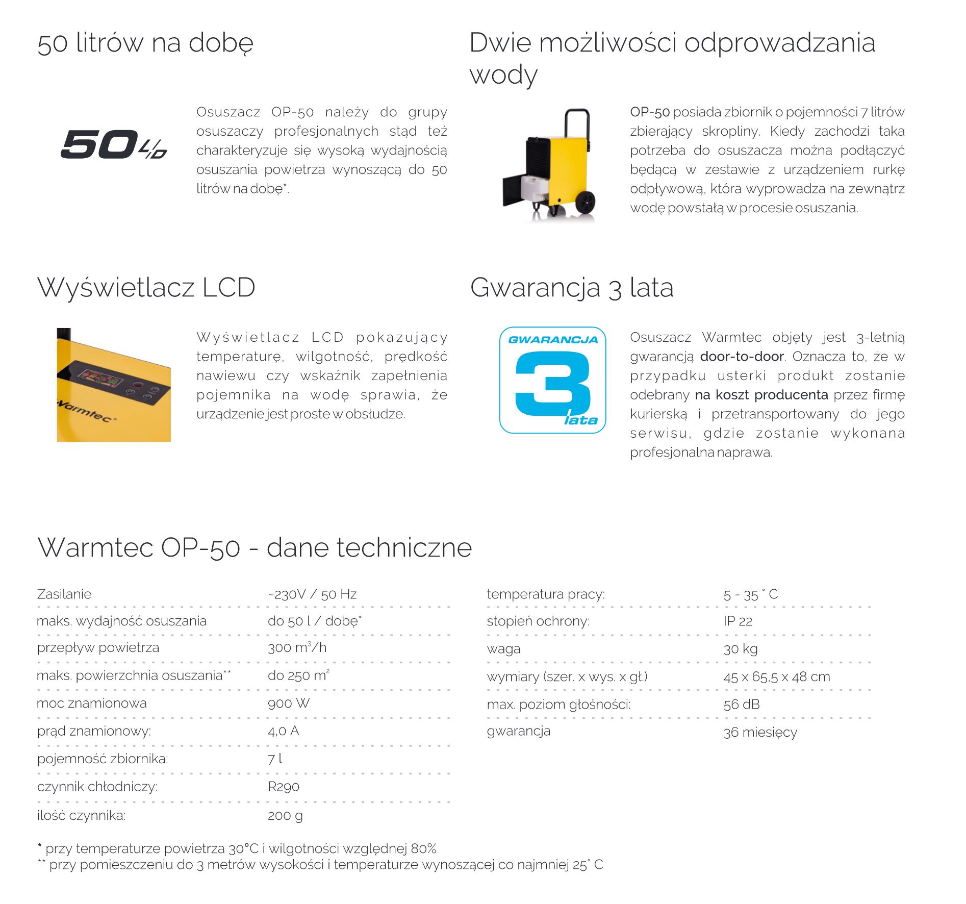 WARMTEC OP-50 specyfikacja