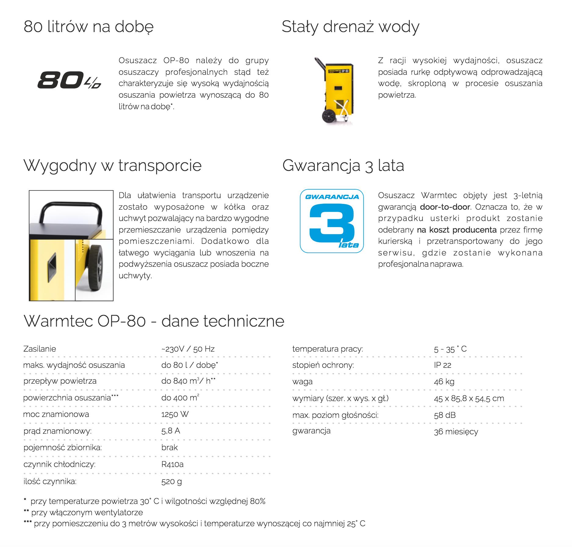 WARMTEC OP-80 specyfikacja